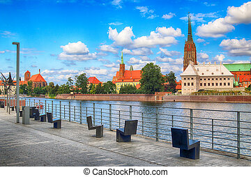 WROCLAW, POLAND - AUGUST 14, 2017: Wroclaw Old Town....