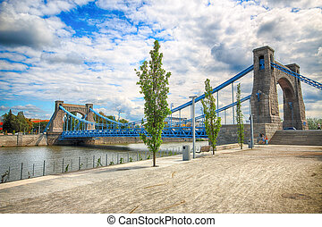 WROCLAW, POLAND - AUGUST 14, 2017: Grunwald Bridge (Most...