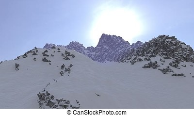 Snow Mountain Top Fly Over Sunrise - Snow mountaint top fly...