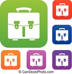 Diplomat bag set collection - Diplomat bag set icon in...