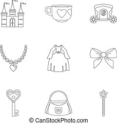 Doll princess icon set, outline style