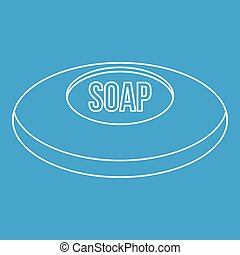 Piece of soap icon, outline style - Piece of soap icon blue...