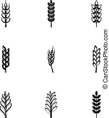 Cereal grain icon set, simple style