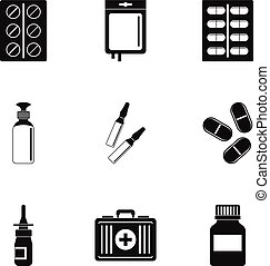 Medication icon set, simple style