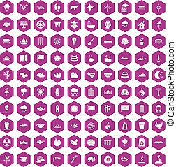 100 lotus icons hexagon violet - 100 lotus icons set in...