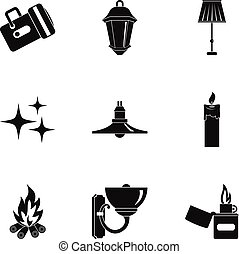 Sources of light icon set, simple style