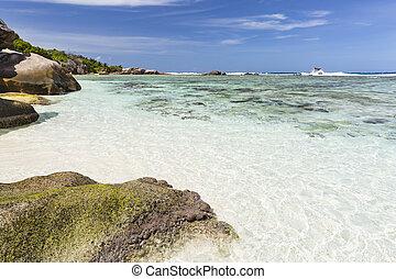 Granite Rocks And White Beach, La Digue, Seychelles - White...