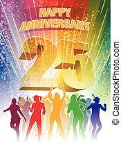 Twenty fifth anniversary - Colorful crowd of dancing people...