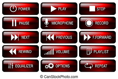 Media player button. - Rectangle media player buttons set...