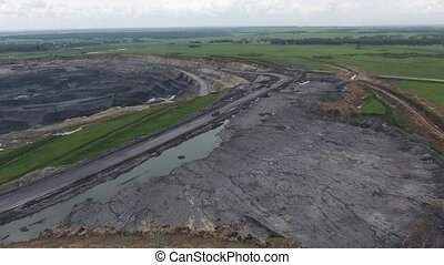 Aerial view open method of mining of coal, anthracite,...