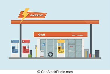 Gas station cartoon flat vector illustration.