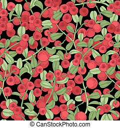 Lingonberry seamless pattern. Detailed hand drawn branches...