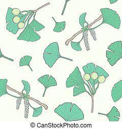 Seamless pattern with ginkgo biloba branches and leaves, flowers, berries. medical, botanical plant background. Vector colorful hand drawn texture.