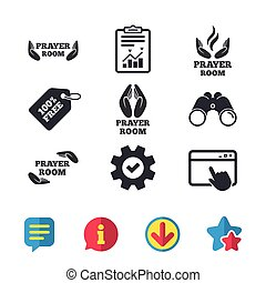 Prayer room icons. Religion priest symbols. - Prayer room...