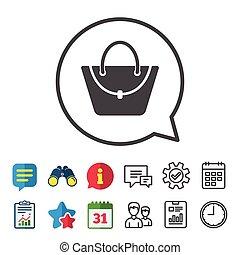 Woman bag icon. Female handbag sign symbol.