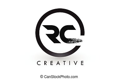RC Brush Letter Logo Design. Creative Brushed Letters Icon...
