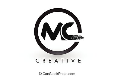 MC Brush Letter Logo Design. Creative Brushed Letters Icon...