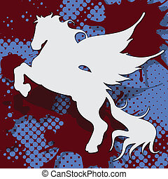 pegasus - abstract illustration, silhouette horse on blue...