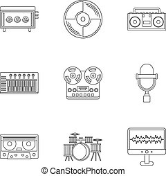 Sound studio icon set, outline style