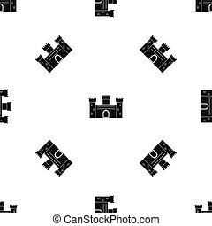 Medieval fortification pattern seamless black - Medieval...