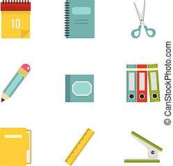 Stationery icon set, flat style