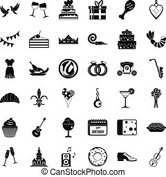 Birthday banquet icons set, simple style - Birthday banquet...