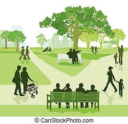 Familien im Park.eps - Generation together in the park,...