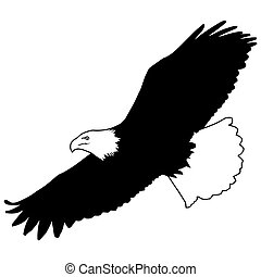 Illustration of a bald eagle flying soaring on isolated background done in retro woodcut style.