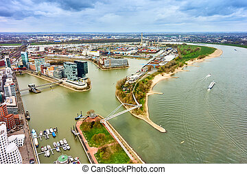 Dusseldorf at the river Rhine in Germany. Aerial View