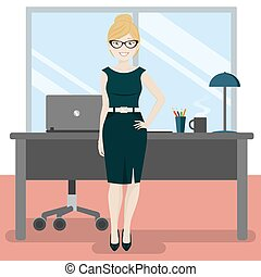 Cute secretary at the office with laptop and coffee. Vector...