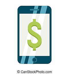 Mobile banking flat icon, business and finance