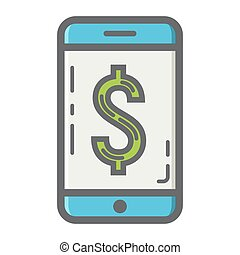 Mobile banking filled outline icon, business