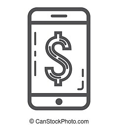 Mobile banking line icon, business and finance