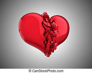 Coração, Amor,  unrequited,  -, doença, quebrada