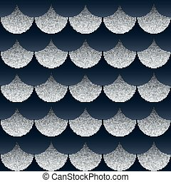 Abstract seamless geometric pattern with silver texture...