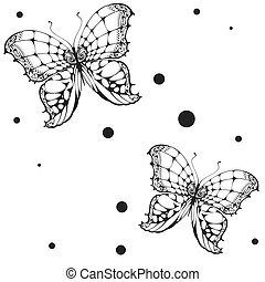 Seamless black butterfly on white background