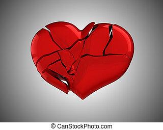 muerte, Enfermedad, rojo, roto, corazón