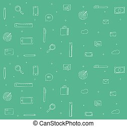 Doodle icons background vector illustration for analytics, finance or statistics