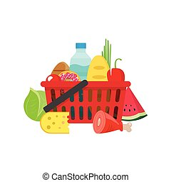 Shopping basket with grocery products, full of healthy groceries product