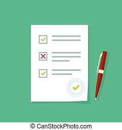 Exam test results paper sheet, survey form checklist, quiz...