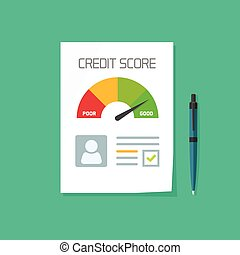Credit score document vector, paper sheet chart of personal data