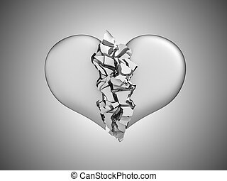 Divorce and death. Broken Heart over grey background