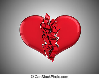 Divorce and love. Broken Heart over grey background