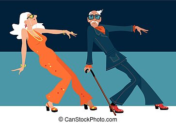 Young at heart - Mature couple dressed in 1970th fashion...