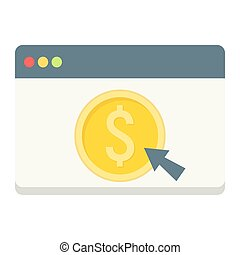 Online banking flat icon, business and finance