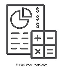 Budget planing line icon, business and finance