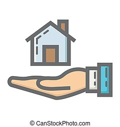Home in hand filled outline icon, business finance