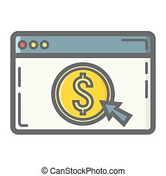 Online banking filled outline icon, business