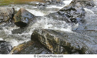 Slowmotion  waterfall  surface movement.
