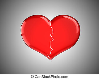 Lost love. Red Broken Heart over grey background